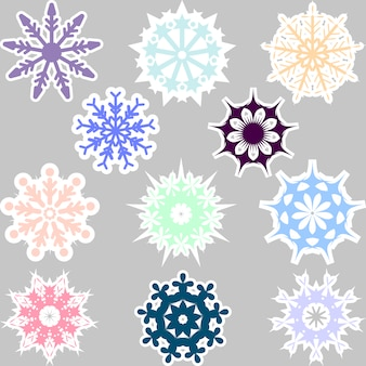 Multicolor snowflakes collection