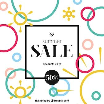 多色の夏の販売の背景