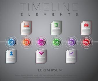 Multicolor timeline elements