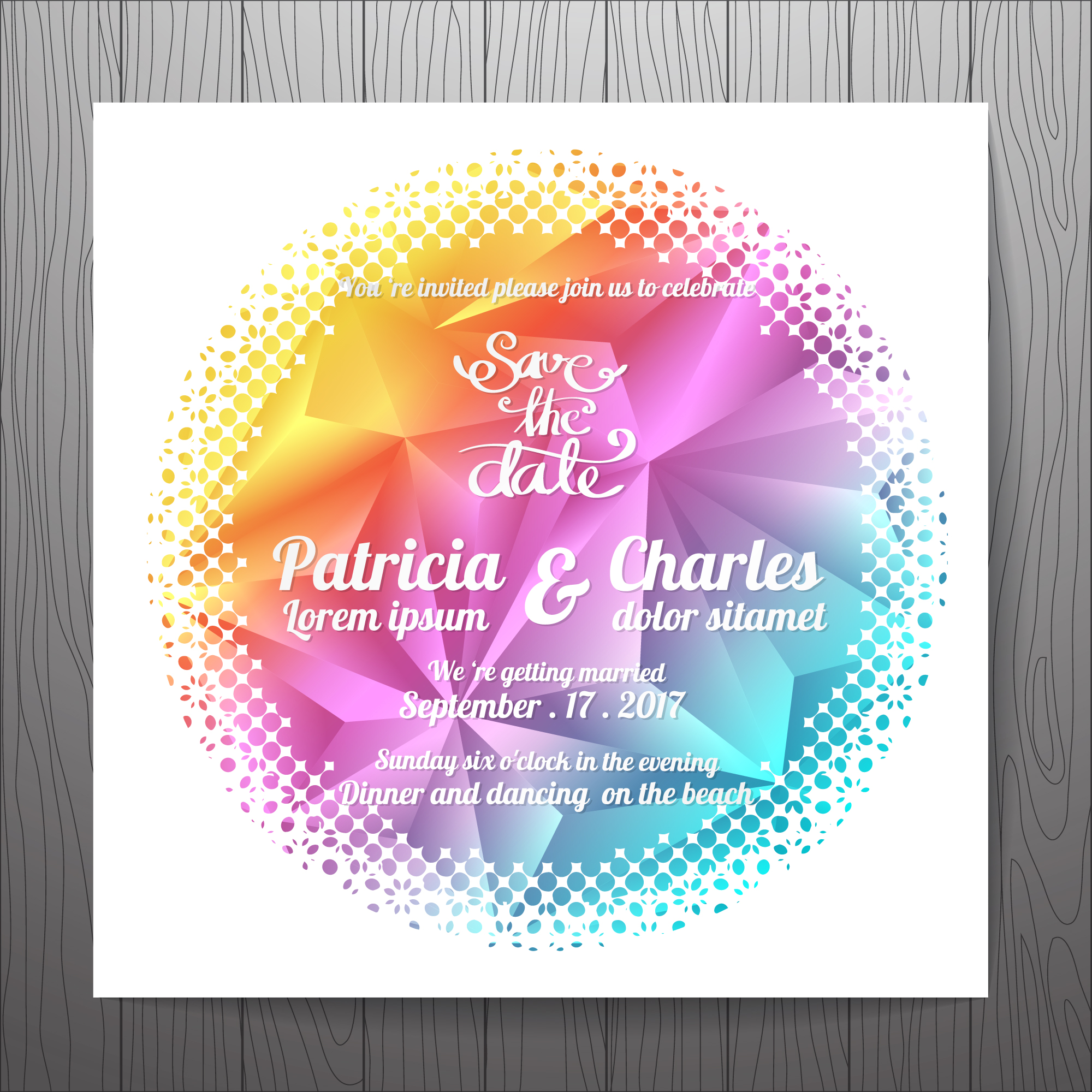 Multicolor wedding invitation with rounded shape