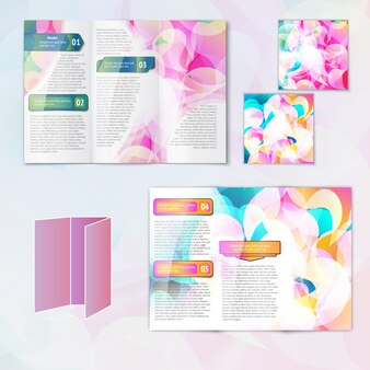 Multicolored abstract modern creative design paper brochure leaflet template elements isolated vector illustration