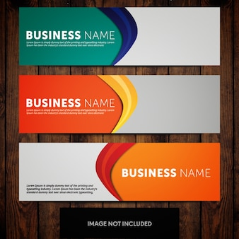 Multicolored business banner template design with grey background