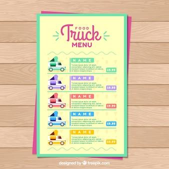 Multicolored food truck menu