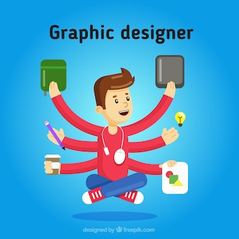 Multitasking graphic designer