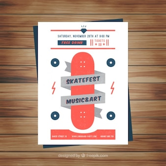 Music and art flyer with skateboard