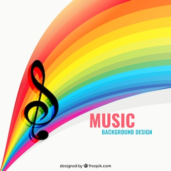 Music background with a rainbow