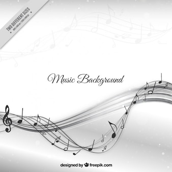 Music background with stave waves