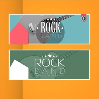 Music banners with decorative guitars