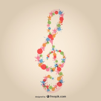 Music clef splatter design