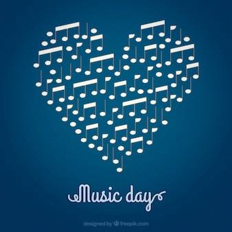 Music day, heart background