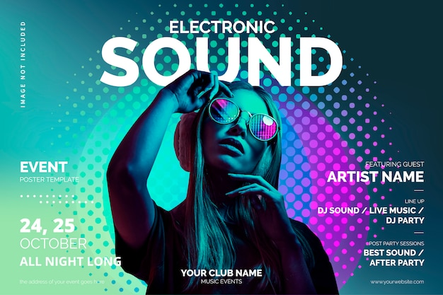 Music event poster template with colorful shapes