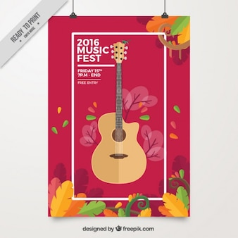 Music fest poster with a guitar