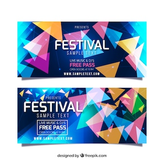 Music festival banners with colorful geometric forms
