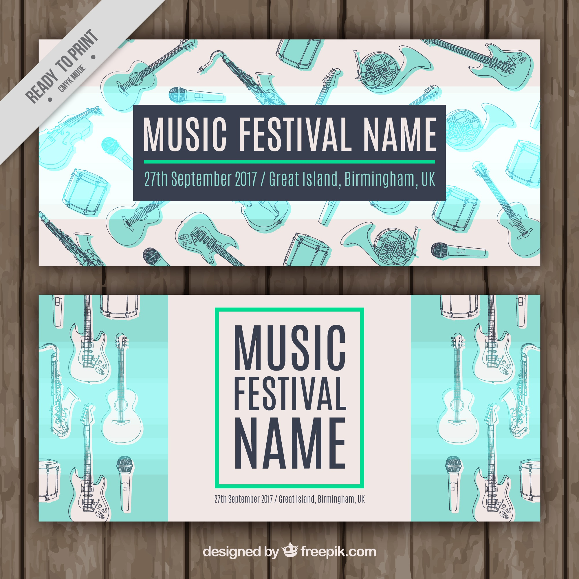 Music festival banners with instrument sketches
