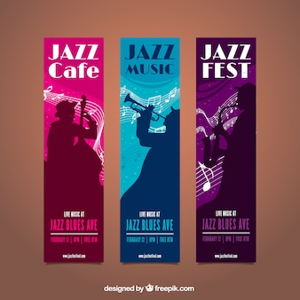 Music festival banners with musician silhouettes