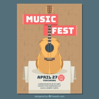 Music festival brochure with guitar