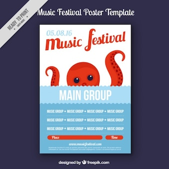 Music festival flyer with octopus