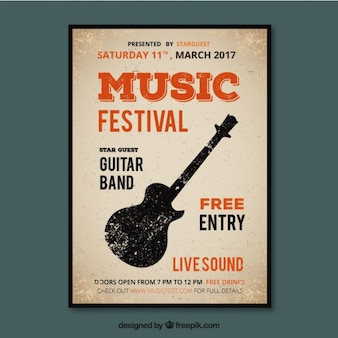 Music festival poster in vintage style