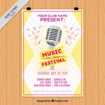 Music festival poster with a vintage microphone