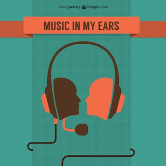 Music in my ears background with headphones
