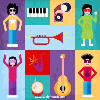 Music instruments and young people avatars