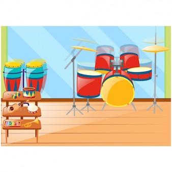 Music instruments background