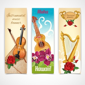 Music instruments banners