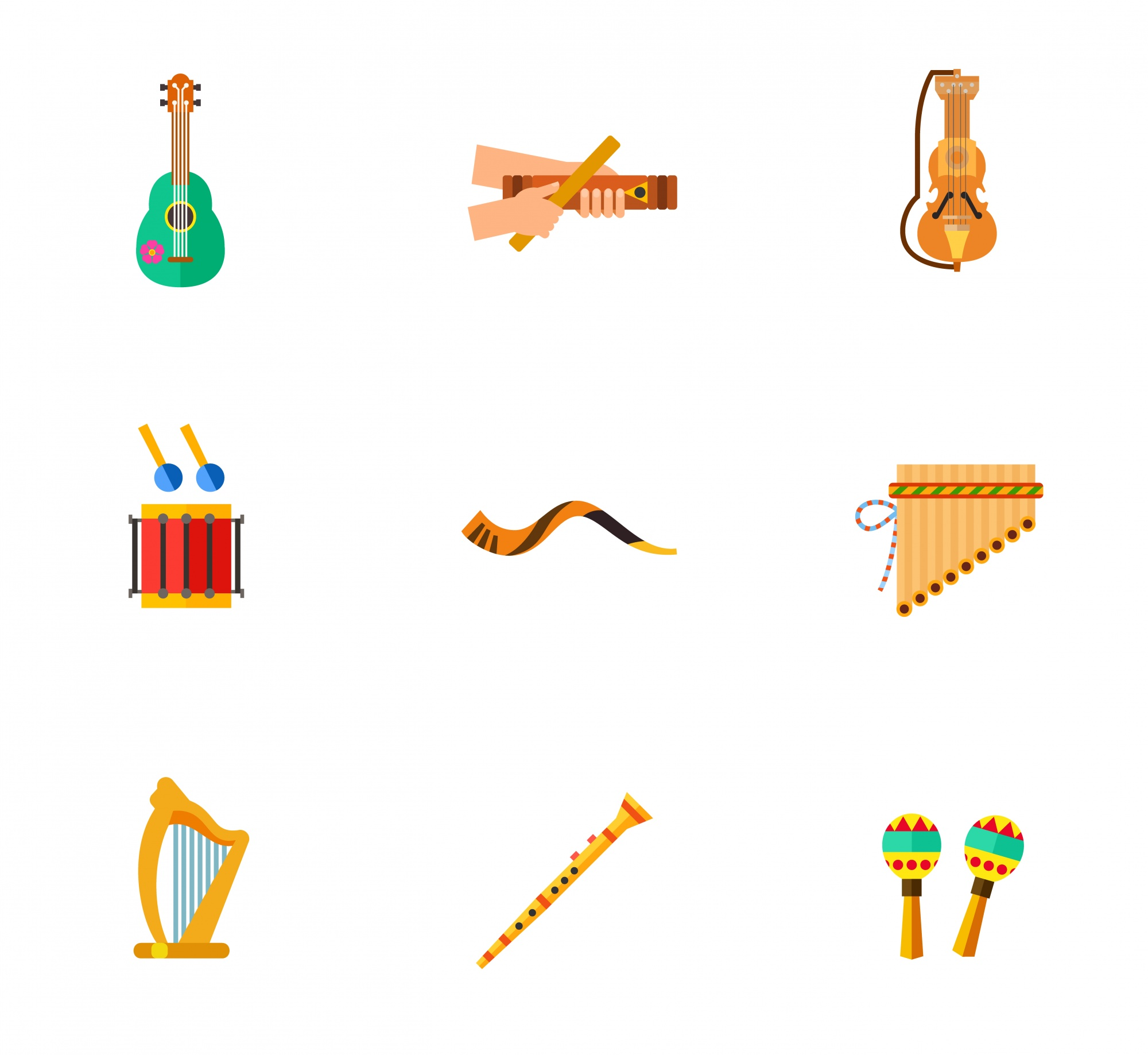 Music instruments icons colecction