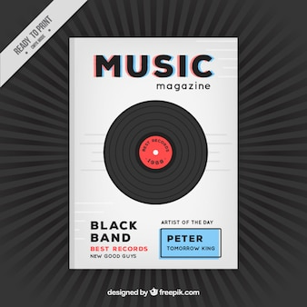 Music magazine cover with a vinyl