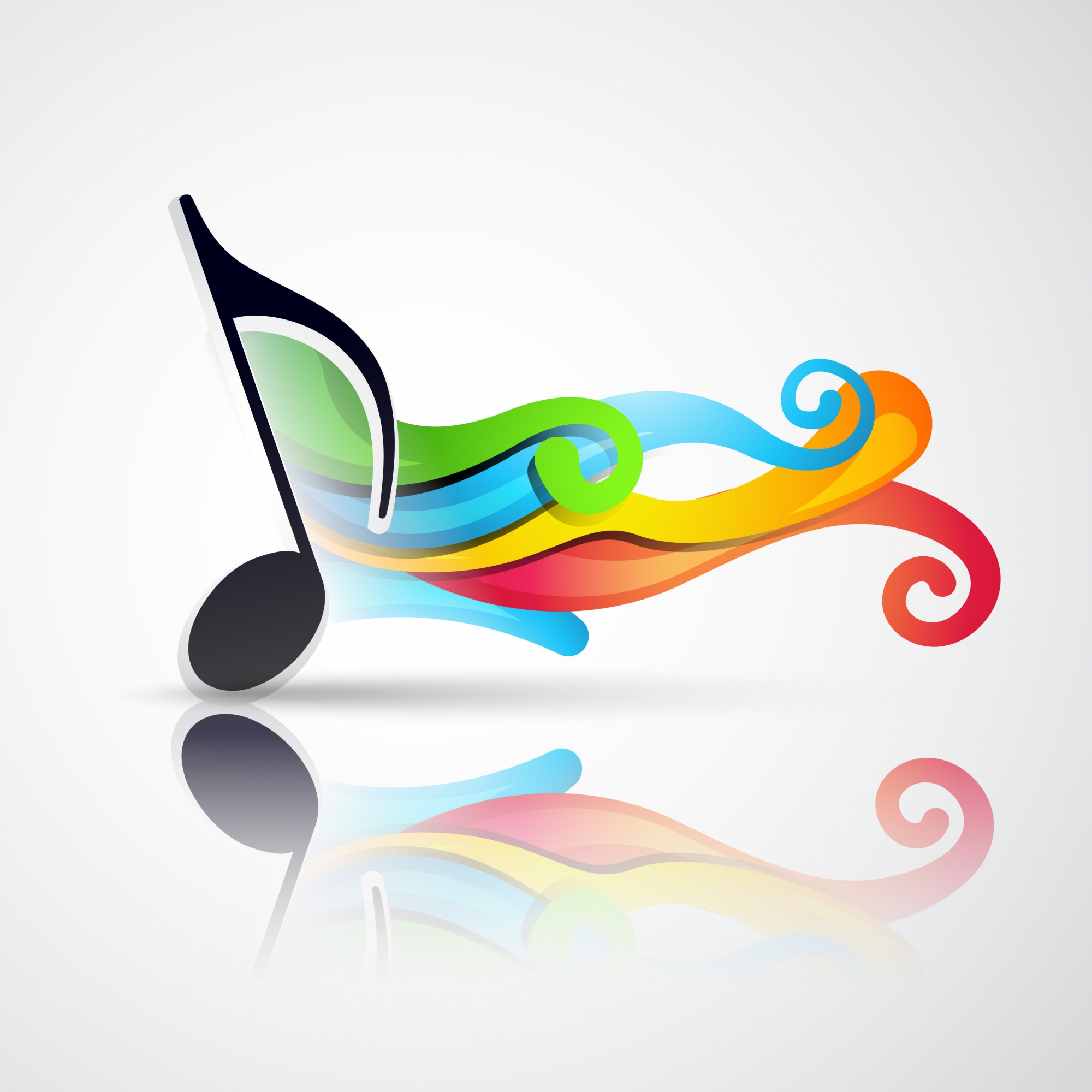 Music note with wave coming out