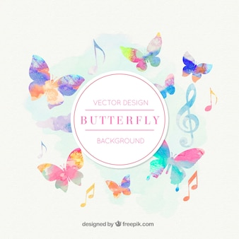 Music notes and butterflies background