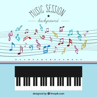 Music notes and piano background