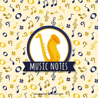 Music notes and saxophone background