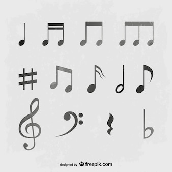 Music notes in gray tones
