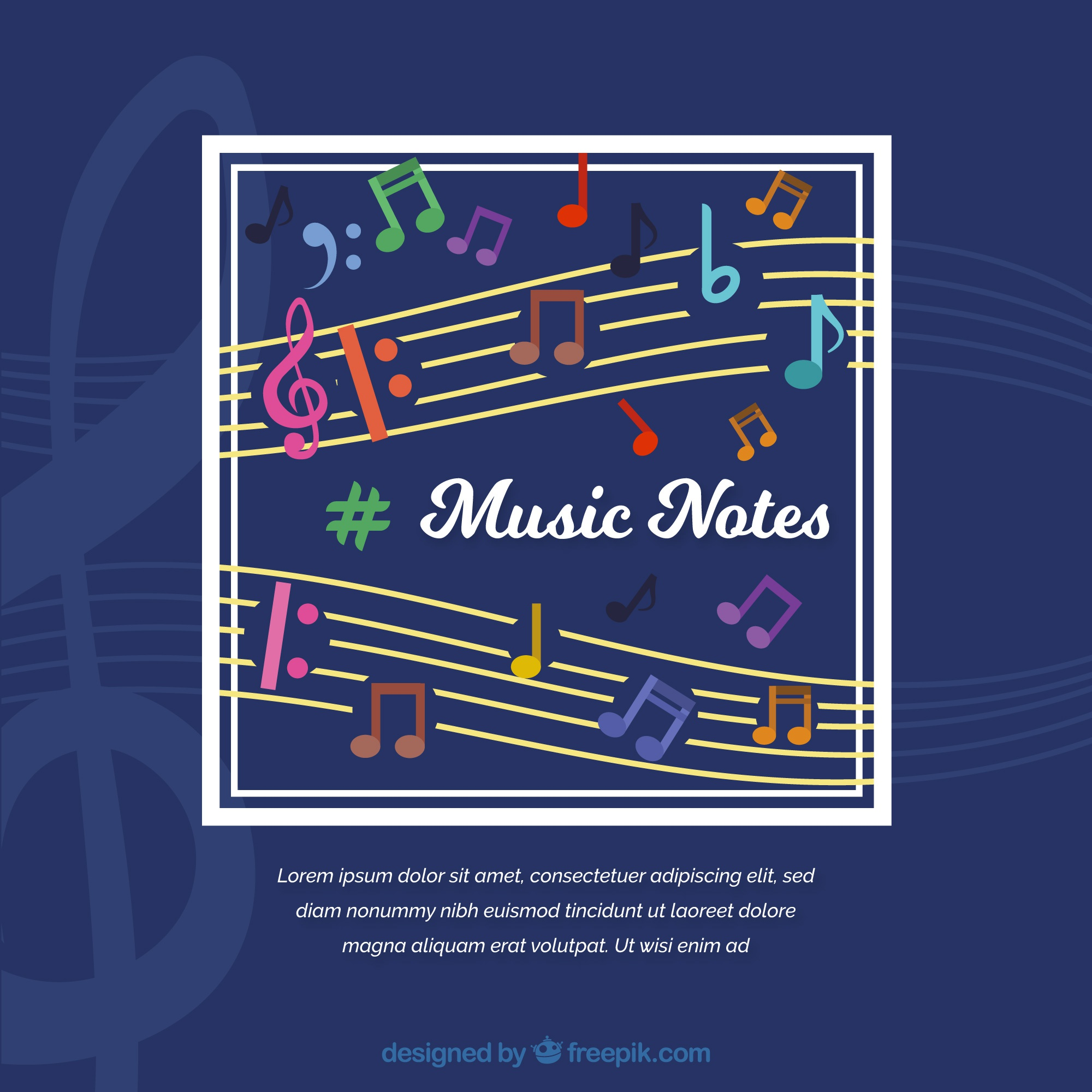 Music notes on blue background