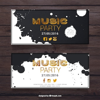 Music party banners with paint splashes
