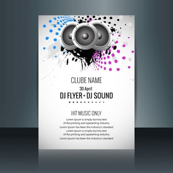Music party flyer with speakers and colored dots