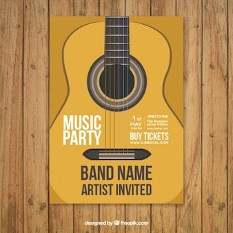 Music party poster template with guitar