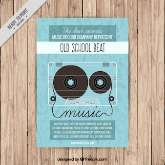 Music party poster with a tape