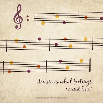 Musical background with color details in retro style