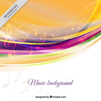 Musical background with colored waves