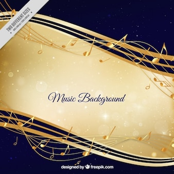 Musical background with golden stave