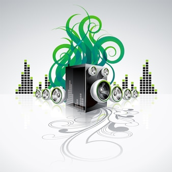 Musical background with green sound waves