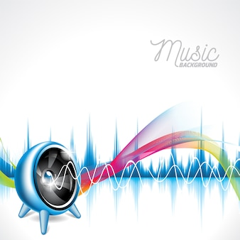 Musical background with multicolor sound waves