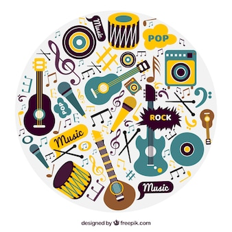 Musical instruments background in vintage style