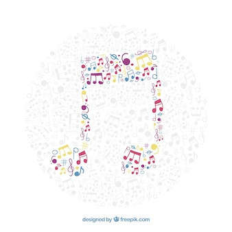 Musical note background made of colorful musical notes
