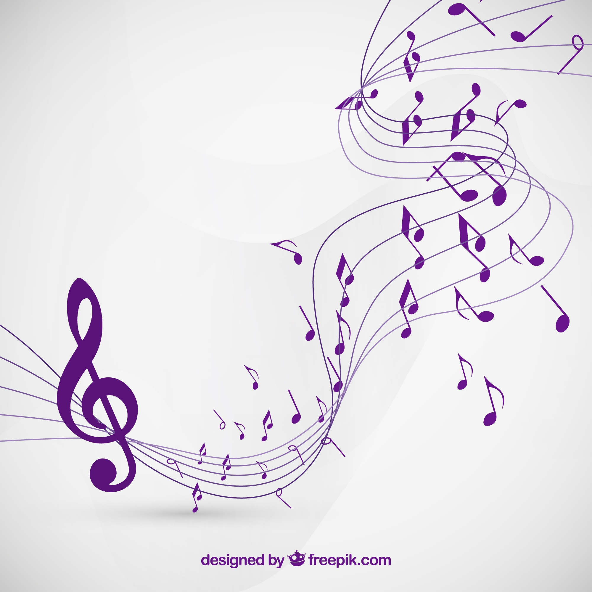 Musical notes background in purple color