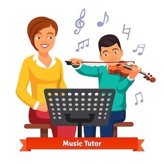子供の男のバイオリンの学生とミュージシャンの家庭教師の女性