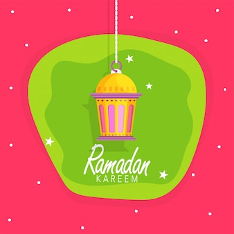 Muslim Community Holy Month, Ramadan Kareem greeting card design with Beautiful Hanging Lamp on stars decorated background.