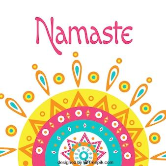 Namaste background with colorful mandala